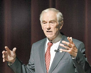 U.S. Rep. Ron Paul, R-Texas, speaks during a Presidential Lecture Series sponsored by The Family Leader, Monday, March 7, 2011, in Pella, Iowa.