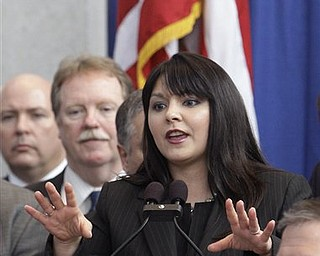 Senate Minority Leader Capri Cafaro delivers the Democrat's response to Ohio Gov. John Kasich's State of the State address Tuesday, March 8, 2011, in Columbus, Ohio.