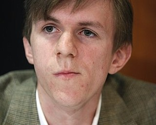 "In a Wednesday, Oct. 21, 2009, file photo, James O'Keefe attends a news conference at the National Press Club in Washington. A National Public Radio executive blasts the tea party movement as ""racist"" and ""xenophobic"" and says NPR would be better off without federal funding in a hidden-camera video released Tuesday, March 8, 2011, by O'Keefe."