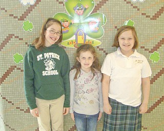Students at St. Patrick School in Hubbard continued this year to help children with cancer when the school participated in the Math-a-Thon for St. Jude Children's Hospital. This year the school raised $1,162. The school has participated in the Math-a-Thon for more than 20 years and raised more than $46,000 for the hospital. The top three fundraisers this year are, from left to right, Marie Bond, second place; Alexa Lindholm, first place; and Corrine Lehman, third place.