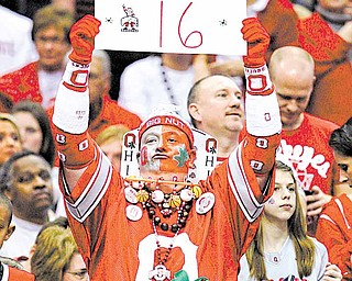 "Ohio State fan Jon ""Big Nut"" Peters celebrates the Buckeyes' 98-66 win over George Mason in an East regional NCAA college basketball tournament third-round game Sunday, March 20, 2011, in Cleveland. Ohio State advanced to the Sweet 16."