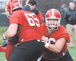 Youngstown's Mark Pratt (76) does a drill with teammate Stephen Page during the first practice of the spring Wednesday afternoon at Stambaugh Stadium.