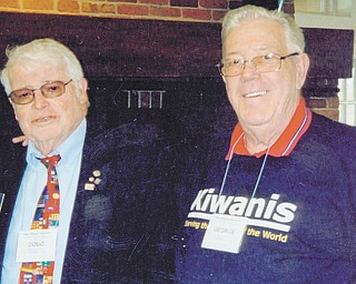 Douglas Everett, at left, and George Grim received Kiwanis Hall of Fame awards during a Kiwanis conference in Columbus.