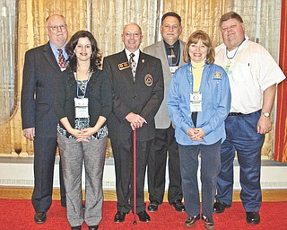 Rotarians from six area clubs traveled to Columbus for the All-Ohio Rotary Presidents-Elect Training Seminar recently. From left to right are Michael Raulin of Canfield Rotary; Deanna Spirko of Austintown Rotary; George Hayes, Rotary District 6650 governor-elect; Steve Zentko of Poland Rotary; Suzanne Fleming of Youngstown Rotary; and Michael Evanson of Struthers Rotary. Virginia Amstutz of Boardman Rotary is not pictured.