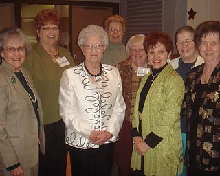 Members of the Trumbull Retired Teachers Association honored TRTA Past President Gretchen Reed with their attendance at the Community Stars banquet. Reed is the founder of the Liberty Blott Holiday Project, an organization that provides toys, clothing and books to needy children at Christmas time. She was selected as one of 11 Community Stars as five tables of friends and family members attended the Stars banquet in her honor. TRTA members who attended are, from left to right, Barb Wright, Linda Cowin, Reed, Lydia Caskey, Joyce Faiver, Roselyn Gadd, Judy Zimmer and Betty Jean Bahmer.