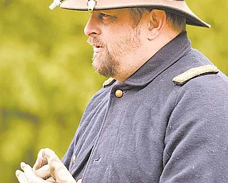 David Robinson of Jamestown, Pa., took on the role of commander during the Western Pennsylvania Civil War Re-enactors Society's spring drill at Raisch Log Cabin in the Sharpsville Community Park Saturday afternoon.
