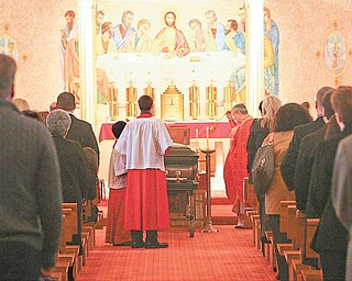 """Funeral services for Campbell Memorial High School teacher Michael """"Mickey"""" Soroka, 49, who died suddenly Tuesday, were in St. Michael's Byzantine Catholic Church on Saturday. The Rev. Basil Marchak officiated."""