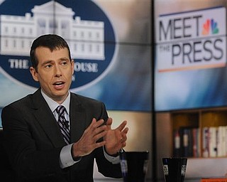 """In this photo released by NBC, David Plouffe, White House Senior Adviser, is interviewed on NBC's """"Meet the Press"""" in Washington Sunday, April 10, 2011. Plouffe said President Barack Obama will lay out new plans this week to reduce the federal deficit in part by seeking cuts to government programs for seniors and the poor. """"You're going to have to look at Medicare and Medicaid and see what kind of savings you can get,"""" Plouffe said."""