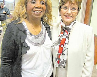 Myrdis Ledbetter, left, and Barbara Johnston were honored Wednesday  .by the Trumbull County commissioners for their years of service to  .the county. Ledbetter, 83, worked 46 years for the county sanitary  .engineer's office in Vienna Township. Johnston worked 23 years in the  .county human resources office in Warren.