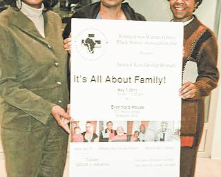 Displaying a poster showing the important facts about a brunch to be sponsored by the Youngstown-Warren (Ohio) Black Nurses Association are, from left, Lynn Veal, president, and Carole Dubose and Wayna Hightower, scholarship committee members. Not pictured are Brenda Averhart, scholarship chairwoman, and Ester McCain and Cynthia McWilson, media representatives.