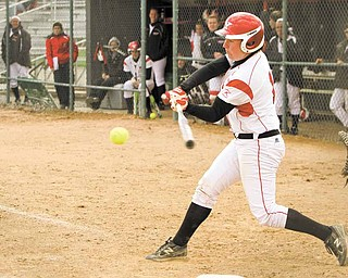 Youngstown State junior softball player Jordan Ingalls focuses on the ball during a game this season. She is distant cousins with teammate Sarah Ingalls (Ursuline High) and both share a common bloodline that can be traced back to American author Laura Ingalls Wilder.