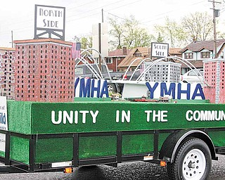 A model of the city of Youngstown was created on a float in Saturday's parade to draw attention to the Unity in the Community event.