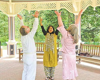 Joseph Patella, of Hiram, left, and Marianne Rieske, right, of Garrettsville participate in a movement and meditation class taught by Julie Thomas of Boardman, center, at Fellows Riverside Gardens. The class took place Sunday at the gazebo in the gardens.