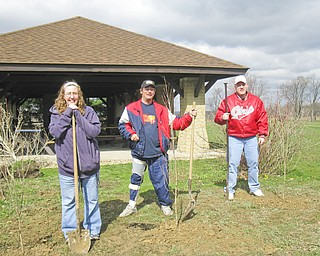 To mark Earth Day and Arbor Day, three dogwood trees were planted near the Paul Pogany Pavilion in Austintown Township Park. Celebrating our planet and working together to complete the down-to-earth project were, from left, Samantha, Jim and Nathan, from No Limits and Ginnetti Center, alternative day habilitation programs offered by Turning Point Residential Inc. The group will continue to work with Joyce Gottron, park supervisor, and her staff on more park beautification projects throughout the year.