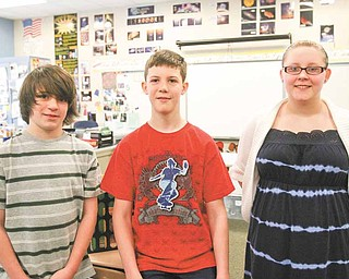 Bailey Loy, 13; Ben St. John, 12; and Brittany Ring, 14, are the only fifth- through eighth-graders in Ohio chosen to attend a U.S. Department of Energy science camp this summer in Tennessee. Bailey and Brittany are students at West Branch Middle School, and Ben attends Beloit Elementary School, which also is part of the West Branch district.