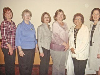 Trumbull County Federated Democratic Women's Club installed its new officers at the monthly meeting on May 2. From left to right are Karen Sullivan, secretary; Franziska Ioannow, treasurer; Julie King, trustee; Cindy Gorse, vice president; Fran Wilson, president; and Judge Mary Jane Trapp, who administered the oath of office. Not pictured is Judie Hartley, trustee.