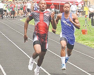 A first-place finish in the boys 100-meter dash at Saturday's Division II district track meet in Salem earned Jermayne Brooks of Struthers, left, a trip to the regional meet this week in Ravenna. Brooks also will compete in the 200-meter dash and on the 4x100 and 4x200-relay teams.