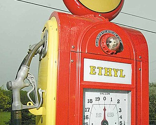 This vintage Pennzoil gas pump is among some 50 collected by J.P. Marsh and displayed at Coalburg Garage.