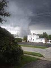 A tornado passes through Newton Falls Monday night.