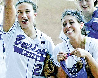 Poland pitcher Erin Gabriel, left, and Emily Chandler react after Thursday's 5-0 win over West Branch.