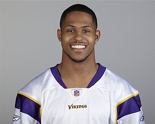 """FILE - This 2010 file photo shows former Ohio State football wide receiver  Ray Small wearing a Minnesota Vikings uniform.  Small told the school's student newspaper that he sold Big Ten championship rings and other memorabilia for cash and got special car deals as an athlete during his playing days. The Lantern reported that Small, who played for the Buckeyes from 2006-2010, said """"everyone was doing it"""" on the team. (AP Photo/File)"""