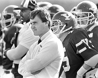 A young Jim Tressel on the sidelines at YSU against Tenn Tech in his first season 1986.