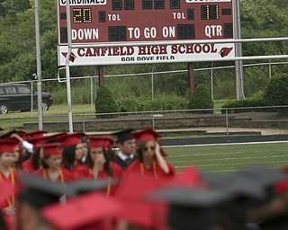 ROBERT  K.  YOSAY  | THE VINDICATOR --..Even the stadium scoreboard congratulates the class of 2011--Canfield High School 2011 graduation at the Stadium - .. -30-..(AP Photo/The Vindicator, Robert K. Yosay)