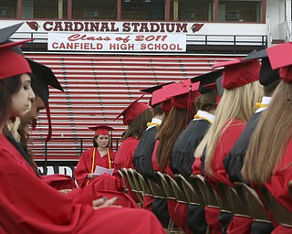 ROBERT  K.  YOSAY  | THE VINDICATOR --..congratulations banner to the senior calss - Canfield High School 2011 graduation at the Stadium - .. -30-..(AP Photo/The Vindicator, Robert K. Yosay)