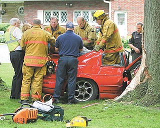 "Boardman Township firefighters and police, together with deputies from the Mahoning County Sheriff's Office, responded to a one-vehicle crash on Shields Road, just west of Sheban Drive, that sent the two female occupants to the hospital. Fire Chief George Brown said the department received the call at 12:43 p.m. Friday and sent all personnel to extricate the women. ""We had seven firefighters on the scene, counting me,"" Brown said. ""We completed the extraction, and Clemente [ambulance service] transported them to St. Elizabeth Health Center for the trauma center."" A portion of Shields Road was closed for a short time because of the accident."