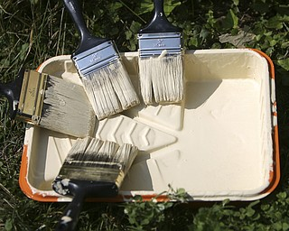 ROBERT K. YOSAY | THE VINDICATOR..tools of the trade - At 762 W. LaClede Avenue, the Youngstown Neighborhood Development Corporation joined forces with Tabernacle Evangelical Presbyterian ChurchÕs Youth Mission Program to paint the home of Carolyn Jackson....-30-