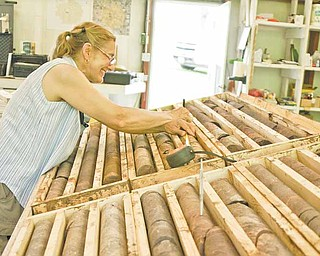 Geologist Marilyn Huff catalogs core samples taken in drilling samples near Elk Creek, Nebraska. (Scott Canon/Kansas City Star/MCT)