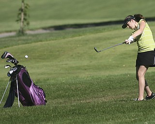ROBERT K. YOSAY | THE VINDICATOR..Rachel Jeswald - hits out of the rough  on the second hole - The areaÕs best youth golfers hit the links Tuesday, trying to make a name for themselves and collect the scholarship that comes along with the success.. the kickoff to the first ÒGreatest Junior Golfer in the ValleyÓ tournament, and the first ball will be launched off the tees of the Diamond Back Golf Course in Canfield. Throughout the month, golfers under the age of 18 as of Aug. 31 will attempt to qualify and be named the best...-30-