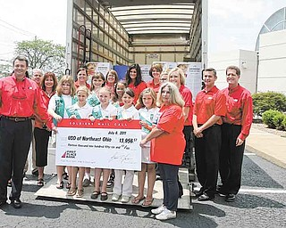 First Place Bank and Mahoning Valley residents raised $13,956 for the United Service Organization of Northeast Ohio. Bank employees and Girl Scout Troop 80129 gathered Wednesday at the Boardman location to pack food, health-care items and letters into boxes to be shipped to soldiers in Afghanistan.