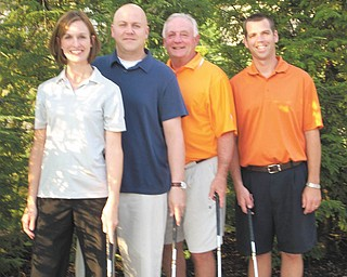 Chairmen of the Tee Off to Cure CF golf outing, from left to right, are Melissa Rowland, Joe Falleti, Dr. Ed Novosel and Dan Rowland. The fundraising event is scheduled for July 31 at Pine Lakes Golf Club in Hubbard.