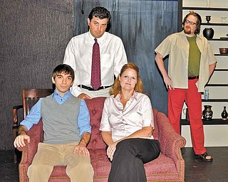"""Cast of """"The Goat, Or Who Is Sylvia?"""" includes John Cox, top left, plays Martin, David El'Hatton top right, plays Ross. In front row, Paul Sauline plays Billy and Kris Harrington plays Stevie, Martin's wife. The play at The Youngstown Playhouse runs Thursday through July 17 and is directed by Johnny Pecano and stage managed by Susi Thompson."""