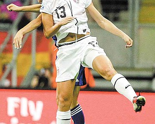 United States' Alex Morgan goes for a header during the final match between Japan and the United States at the Women's Soccer World Cup in Frankfurt, Germany, Sunday, July 17, 2011. (AP Photo/Frank Augstein)
