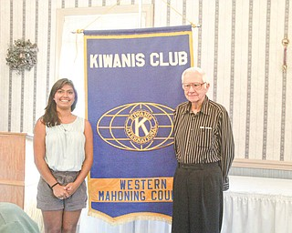 Olivia Roy, a junior at Canfield High School, has been elected Division 21 Key Club lieutenant governor. With her is Chuck Smith, a new member of the Kiwanis Club of Western Mahoning County.