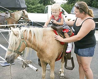 Kaylee Trolio, 2, of Boardman goes for a pony ride as her mother, Lizzie Padgitt, walks beside her at the Mount Carmel Italian Festival on Saturday. The annual festival opens at 1 p.m. today and concludes this evening at 10.
