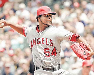 Los Angeles Angels' Ervin Santana pitches against the Cleveland Indians in the eighth inning of a baseball game Wednesday, July 27, 2011, in Cleveland. Santana tossed a no-hitter in the 3-1 win. (AP Photo/Mark Duncan)