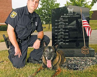 Police dog Yuma, an eight-year veteran of the Boardman Police Department, retires next month and his handler, officer Daryn Tallman, will purchase Yuma from the township for $1.