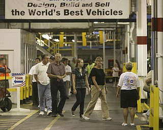 ROBERT  K.  YOSAY    THE VINDICATOR --..touring the plants WORLDS BEST VEHICLE -GM opened the Lordstown Plant toover 9000 visitors ..The Lordstown Complex is a General Motors automobile factory in Lordstown, Ohio comprising three facilities: Vehicle Assembly, Metal Center, and Paint Shop. The plant opened in 1966. Lordstown currently builds the global Chevrolet Cruze compact car.The plant welcomed over 9000 visitors to view the  Metal Center ( west plant) and the asembly plant on Thursday.--30-..(AP Photo/The Vindicator, Robert K. Yosay)