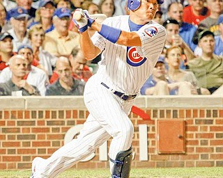 In this July 18, 2011 file photo, Chicago Cubs' Kosuke Fukudome hits an RBI double off Philadelphia Phillies relief pitcher Drew Carpenter during the sixth inning of a baseball game in Chicago. The Cleveland Indians have acquired Fukudome from the Cubs on Thursday, July 28, 2011.