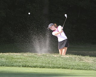 ROBERT  K.  YOSAY  | THE VINDICATOR --...Kelly Fleming of Canfield Blasts out of the Sand and lands on the green during  -- The Vindicator Greatest Jr. Golfer of the Valley -at Trumbull Country Club in Warren -.--30-..(AP Photo/The Vindicator, Robert K. Yosay)