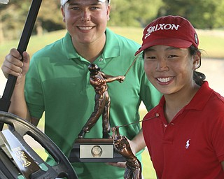 ROBERT  K.  YOSAY  | THE VINDICATOR --..Boys and Girls winners are James LaPolla and Jacinta  Pikunas with their trophys. -- The Vindicator Greatest Jr. Golfer of the Valley -at Trumbull Country Club in Warren -.--30-..(AP Photo/The Vindicator, Robert K. Yosay)