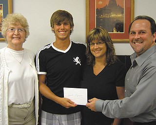 2011 AGF Scholarship presented: Jacob Eynon and his mother, Melissa, receive the Austintown Growth Foundation Scholarship from Joyce Pogany, left, scholarship committee chairwoman, and AGF President David Ditzler, right. The award was presented at the foundation's August meeting. Jacob will attend the University of Akron this fall, pursuing a degree in civil engineering. He maintained a 3.89 GPA, lettered three years in varsity baseball and was a member of Key Club and National Honor Society.