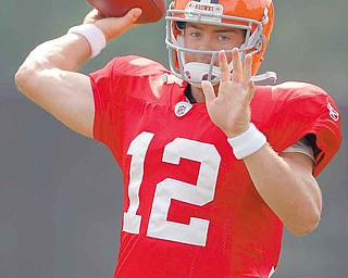 Cleveland Browns quarterback Colt McCoy passes during the teams'  NFL football training camp in Berea, Ohio on Monday, Aug. 15, 2011.  (AP Photo/Amy Sancetta)
