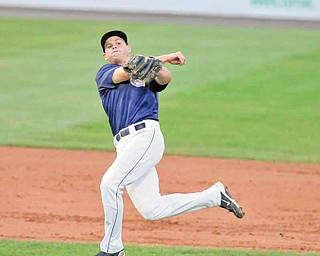 Mahoning Valley Scrappers second baseman Todd Hankins makes an off -balance throw to first base in the third inning of Wednesday's game against the Auburn Doubledays at Eastwood Field. Hankins could not throw out Auburn's Bryce Ortega, who was credited with an infield single.