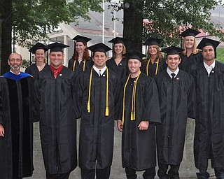 Professor Frank Boos, Ph D. and graduates of Exercise Science from the 2011 YSU Summer commencement....Photo By:  Lindsay Y McCall | The Vindicator