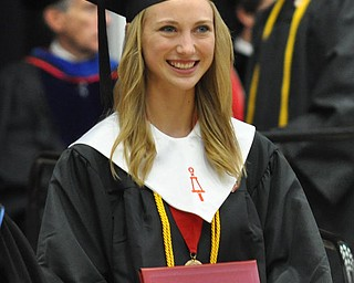 Magna Cum Laude graduate and Honors Program Graduate Kimberly Ann Moore poses with her degree from the College of Science, Technology, Engineering, and Mathematics at the 2011 YSU Summer commencement....Photo By:  Lindsay Y McCall | The Vindicator