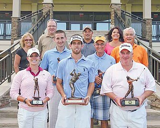 Winners in the Greatest Golfer of the Valley Tournament are, front from left, Katie Rogner, Anthony Conn and Mike Watson, and second row, from left, Bill Stanton, Ed Antonelli and Tom Walker. In the back row, from left, are Bonnie Mollica; John Gulas, president of Farmers National Bank; Pete Mollica Jr.; and Mary (Mollica) Beidelschies. The Mollica family attended in memory of Pete Mollica, longtime Vindicator sports writer, for whom the Open Division of the tournament was renamed this year.